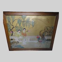 Large Chinese Watercolor Women and Rooster Painting Signed c1920