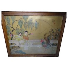 Large Chinese Watercolor Women and Rooster Painting Signed c1910
