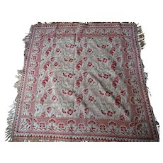 Art Nouveau Embroidered Piano Shawl Scarf Coverlet Textile