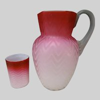 Victorian Herringbone MOP Opalescent Pink Satin Glass Pitcher Jug Cup