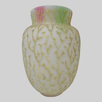 Antique Rainbow Satin Glass Coralene Vase c1880