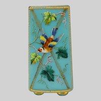 Thomas Webb Hand Painted Enamel Opaline Signed Glass Vase