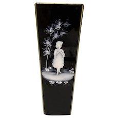 Fine Antique Bohemian Mary Gregory Enameled Black Glass Vase