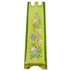 Antique Thomas Webb Cased Vaseline Hand Enameled Glass Vase
