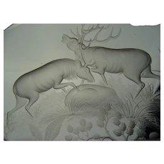Signed Moser Engraved Glass Plaque Sculpture Milan Holubek