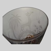 Antique Moser or Lobmeyr Engraved Giraffe Wine Glass Stem
