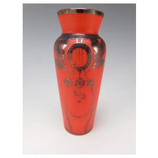 Secessionist Czech Bohemian Red Silvered Satin Glass Vase