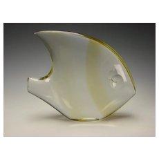 BIG Vintage Salviati Murano Amber Gold Striped Glass Fan Fish Sculpture Figurine c1970