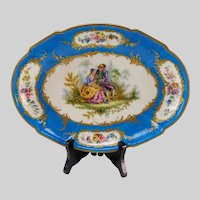Early 19c Sevres Style Hand Painted Portrait on 18c Porcelain Tray Platter