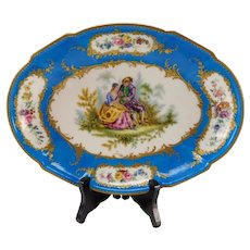 GREAT Early 19c Sevres Style Hand Painted Portrait on 18c PorcelainTray