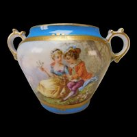 Antique Sevres Style Hand Painted Lovers Portrait Sugar Bowl 19c