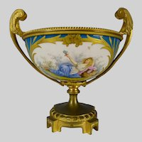 Fine 19c Sevres Style Gilt Bronze Hand Painted Porcelain Mounted Bowl