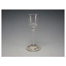 Great Antique English Cotton Twist Spiral Latticino Stem Wine Glass Cordial Stem