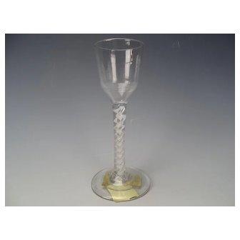 Antique c1760 Mixed Latticino Twist English Wine Glass Stem