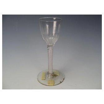 c1760 Antique English Double Latticino Mixed Twist Ribbed Wine Glass AF