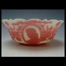 Antique Mt Washington Cameo Glass Brides Berry Bowl Cased and Cut