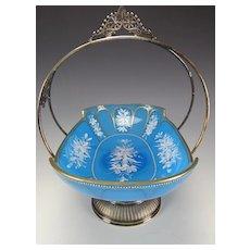 Antique Moser Bohemian Cut Enamel Blue Opaline Glass Silver Plate Meriden Bowl