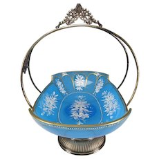 Antique Moser Bohemian Cut Enamel Blue Opaline Glass Silver Plate Meriden Bowl