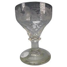 Antique Georgian English Engraved Ale Glass Stem c1760