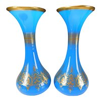 HUGE Antique Baccarat Napoleon III Post Empire Blue Opaline Glass Gilt Vases Pair