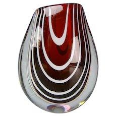 Swedish Modern Vicke Lindstrand Zebra Kosta Glass Vase