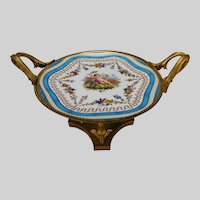 Antique French Sevres Style Gilt Bronze Porcelain Plate Compote Stand
