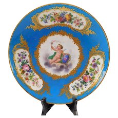 Great Antique Sevres Style French Porcelain Vase Hand Painted Cherub Angel