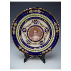 Antique Sevres Style Porcelain Jeweled Hand Painted Portrait Plate Limoges