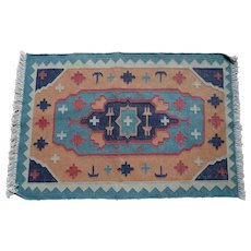 Vintage Native American Navajo Hand Knotted Wool Rug