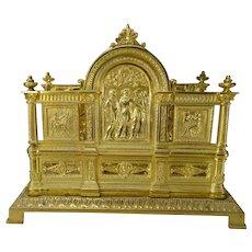 Antique Ornate Neoclassical Gilt Heavy Brass Mail Letter Table Desk Rack 19c