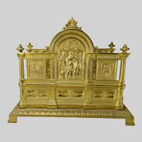 Ornate Neoclassical Gilt Brass Mail Letter Rack 19c