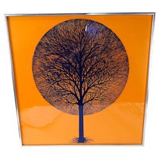 Vintage Modern Scherenschnitte Glass Tree Orange Print Signed c1970