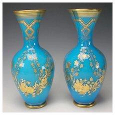 Antique Baccarat French Glass Blue Opaline Elegant Gilt Vases