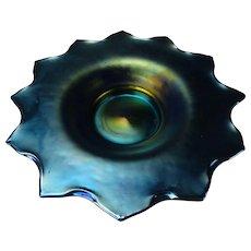 "Antique Loetz Iridescent Papillion Starry Glass Bowl 12"" Signed"