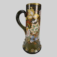 Antique Bohemian Moser Hand Painted Enamel Glass Pitcher Applied Bees
