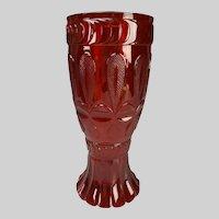 Bohemian Biedermeier Neuwelt or Egermann Ruby Glass Vase c1830s