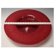 "Huge Vintage Venetian Murano Red Dapple Art Glass 20"" Charger Tray Plate"