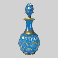 RARE 19c Boston Sandwich Artichoke Gilt Blue Opaline Glass Perfume Bottle