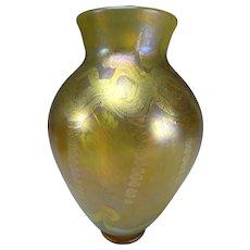 Antique LCT Tiffany Favrile Art Nouveau Iridescent Glass Vase