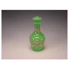 Antique French or Bohemian Green Opaline Glass Perfume Cologne Scent Bottle