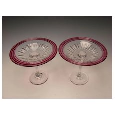 Antique Pairpoint Elegant Cranberry Cased Cut Glass Compote Tazza Pair of Stands