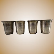 4 Antique Imperial Russian Sterling Hallmarked 84 Vodka Cups Shots