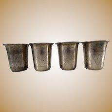 4 Russian Kiev Silver Hallmarked 84 Vodka Cups Shots Set