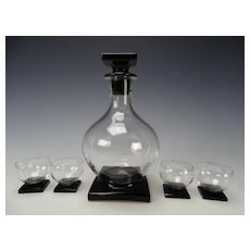 French or Bohemian Art Deco Decanter and 4 Whiskey Tumbler Black Onyx Base