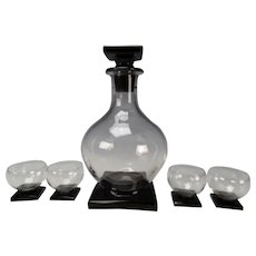 Fostoria Art Deco Decanter and 4 Whiskey Tumbler Black Onyx Base