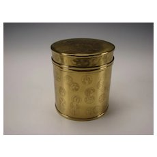 Antique Japanese or Indian Solid Brass Round Jar Box Humidor