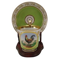 Antique Royal Vienna Hand Painted Austrian Porcelain Chicken Rooster Cup Saucer