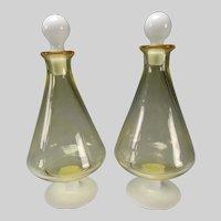 Fine Mid Century Art Glass Decanters 2 Color