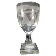 Antique 18c English or Dutch Engraved Glass Wine Stem
