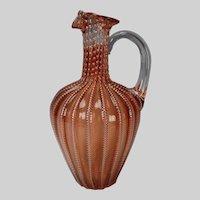 Antique 19c Webb or Stevens Williams Stourbridge English Cranberry and Bubble Glass Pitcher